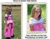 Sleeping Beauty Dress DIY Kit, Includes all the fabric, trims, and pattern you need to make your own dress, Sizes 1/2-4