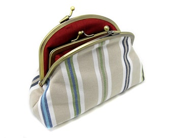 Striped Kiss Lock Clutch Coin Purse Wallet Gift for women Gold Double Metal Frame Red Blue Green Brown Pinstripe Rust Silk Cream Linen