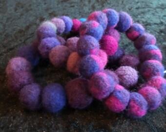 Set of 3 Purple Blue and Pink Felt Bracelets