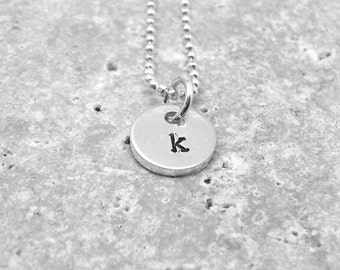 Initial Necklace, Tiny Letter k Necklace, Initial Pendant, Personalized, Sterling Silver Jewelry, Charm Necklace, Initial Charm, All Letters