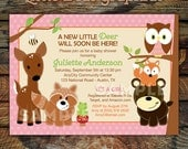 Woodland Forest Animals Printable Baby Shower or Birthday Invitation -- Baby Girl Invitations -- Any Color