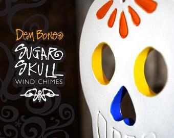 Sugar Skull Wind Chime  -  Dia De Los Muertos  Skull Valentine Gift Outdoor Ceramic Decoration