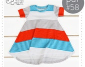 Tshirt dress pattern // flared curved hem // pdf instant download // long and short sleeve // 0M to 6T // #58
