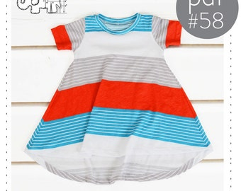 Tshirt dress pattern, flare bottom, curved hem// pdf pattern instant download// long and short sleeve  sizes 0M to 6T -pattern 58