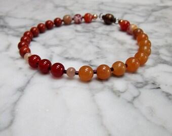 MENS Natural Orange Stone and Crystal Sacral Hara Chakra Healing Bracelet
