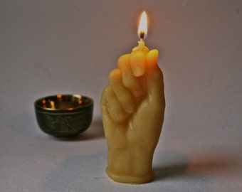 Organic Beeswax Candle Cast from Vintage Porcelain Aged Doll Hand for Birthday or Decor