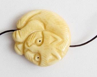 Ox Bone Lovely Cat Pendant Bead Making Jewelry 30mm x 30mm  T2561