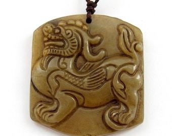 Lucky Natural Xiuyan Stone Gem Chinese Kirin Dragon Qilin Charm Pendant 40mm x 35mm  T3113