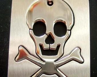 Men's Cool Alloy Metal Skull Crossbones Rectangle Pendant Chain Necklace 40mm x 26mm  S007