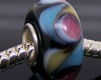 Murano Glass Charm Bead Fit European Bracelet--1Pc--14mm x 7.5mm--Hole Size About 4.8mm  jaz336