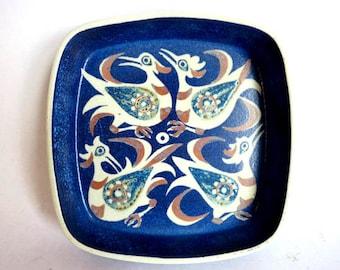 Cobalt Blue Mid Century Bird Serving Plate