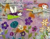 Live In The Sunshine - ACEO / ATC Pr int - Magical Garden Fairies, Emerson Quote, Garden Art, Inspirational Motivational Art