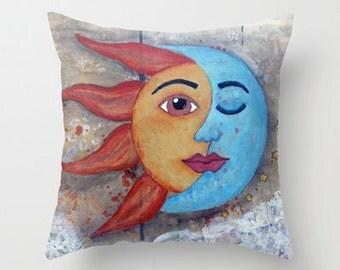 SOLUNA, Sun and Moon, New Age art, Mixed Media Art, throw pillow, ART Pillow, home decor, collage, art, mixed media artist, Alicia J Hayes