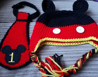 Crochet Mickey Mouse First Birthday Hat/Tie Set