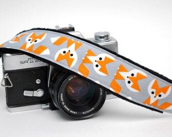 Camera Strap - DSLR Camera Strap - Fox Camera Strap - Padded Camera Strap- Nikon Strap - Canon Camera Strap - Camera Accessory - Orange Fox