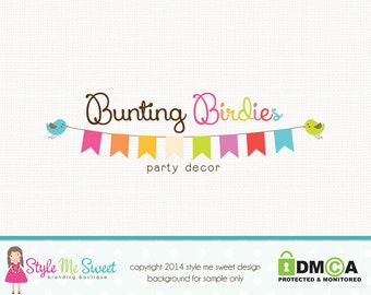 Bunting Logo Party Logo Design Bird Logo Design Graphic Design Photography Logo Photographers Logo Watermark Premade Logo Design Branding
