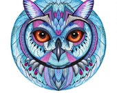 Winter owl // SALE 1+1 // Buy one get one FREE, animal art print, owl face, size A3