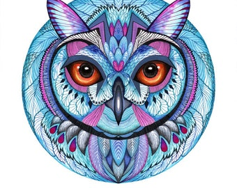 Winter owl, bird, animal art print, owl face, size A3