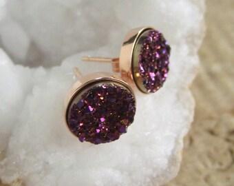 Plum Druzy Studs Titanium Drusy Quartz Earrings Rose Gold Vermeil Bezel Set