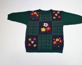 Babies Ugly Sweater - Baby Sweater - Ugly Kids Clothing - Green Flower Sweater - 3T- The Urban Garden