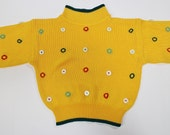 Vintage 80s Sweater - Ugly Sweater - Cropped - Yellow - Buttons - Clown Sweater - The Hardest Button to Button