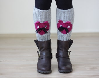 Cat Knit Knee warmers for women, Knee legwarmers, Knit leggings, Grey knee accessories, Animal legwarmers