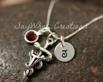 Veterinary Tech Necklace Custom Hand Stamped Sterling Silver Mini Initial with Birthstone and Vet Tech Symbol Charm