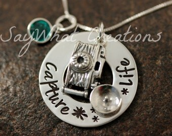 Custom Hand Stamped Sterling Silver Camera Photographers Charm Necklace Capture Life