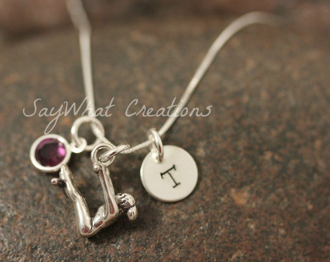 Hand Stamped Sterling Silver Mini Initial Gymnast Charm Necklace for Gymnastics