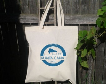 25  Wedding Welcome Bags-Personalized Wedding Tote -Punta Cana Stamp