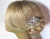 Wedding Bridal Veil and Bridal Comb, Bandeau Birdcage Veil, Blusher Bird Cage Veil , Rhinestone Fascinator Comb , QUICK SHIPPER Bridal Veil,