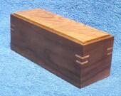 Walnut and Oak Tilt Top Pencil Box