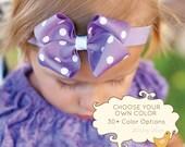 Baby Bow, Baby Headband, Small Loopy Polka Dot Boutique Baby Headband Bow,  ANY color YOU choose,infant headband, baby girl