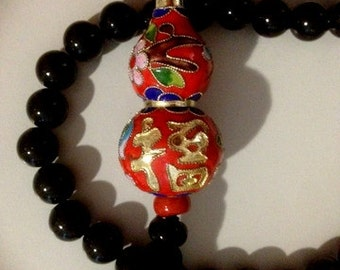 GIANT CLOISONNE Red and Gold Bead with Black 1.5 Cm Beads NECKLACE with Tassel