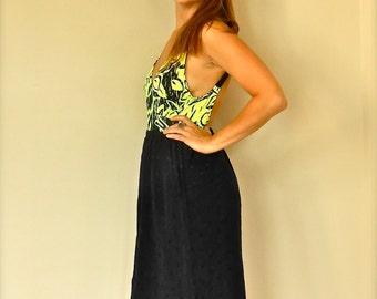 Vintage High Waist Black Pencil Skirt Diamond Pattern Knee Length