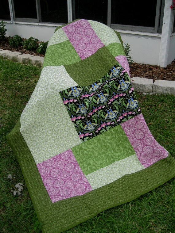 "Lap Quilt - Garden Floral - 52"" x 69"" - Modern/Contemporary - SALE"