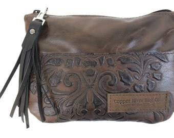 Berkeley Leather Clutch Purse - Molasses with Brown Paisley