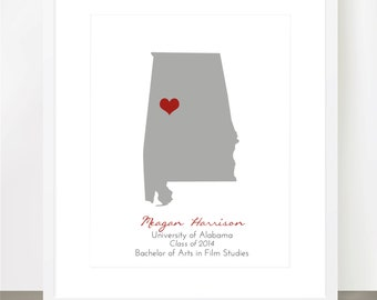 Graduation Print for College, High School Graduates of US States or Worldwide Countries - Customizable Colors & Backgrounds