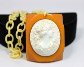 Classic Bakelite and Celluloid Cameo Necklace