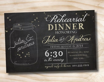 MASON JARS Fireflies Rehearsal Dinner, Couples Shower, Engagement Party Invitation - Printable digital file or printed invitations