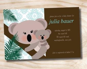 Koala Bear Baby Shower Invitation Momma and Baby - Digital File
