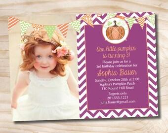 Fall Pumpkin Invitation Chevron 1st 2nd 3rd Birthday Photo Party Invitation Printable diy Customizable