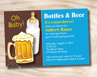 BOTTLES AND BEER Man Shower Babies Diaper Party Invitation - Printable Digital file or Printed Invitations
