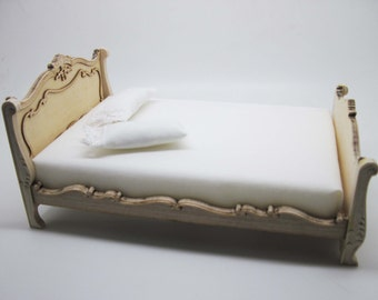 Miniature dollhouse furniture  bed undecorated - code VMJ 1111