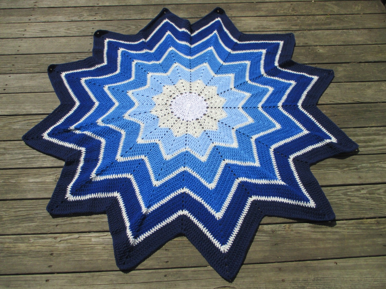 Crochet 12 Point Star Afghan Blanket Throw
