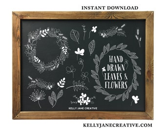 Black & White Hand Drawn Flowers and Leaves Clipart for blog graphics, invitations, wall art and more Includes 38 PNG, 2 EPS