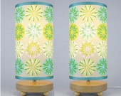Pair of Table Lamps in cirlce daisy print