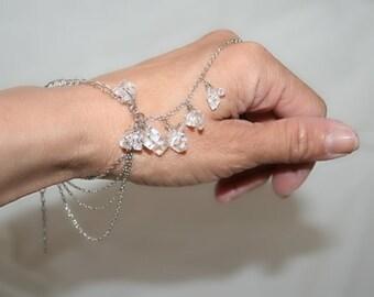Slave bracelet with crystal rock ,bracelet ring, ring bracelet, slave ring  adjustable, (m9a-2 )