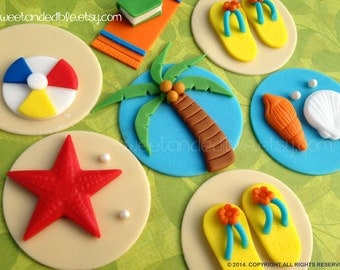12 BEACH or POOL PARTY Fondant Cupcake Toppers