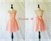 A Party V Shape Dress Bright Peach Lace Dress Roses Lace Prom Dress Lace Bridesmaid Dress Backless Party Dress Cocktail Dress Custom Made